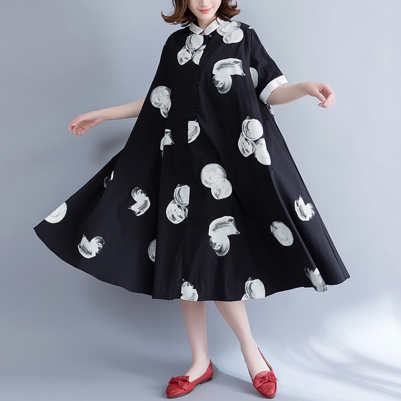 boutique black prints pure cotton dress oversize cotton clothing dresses Fine big hem lapel collar cotton shirt dress