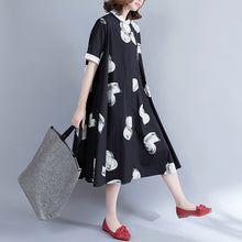 Afbeelding in Gallery-weergave laden, boutique black prints pure cotton dress oversize cotton clothing dresses Fine big hem lapel collar cotton shirt dress