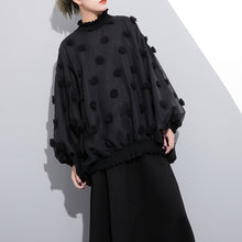 Load image into Gallery viewer, boutique black pure cotton blouse plus size traveling clothing Elegant fuzzy ball decorated cotton blouses