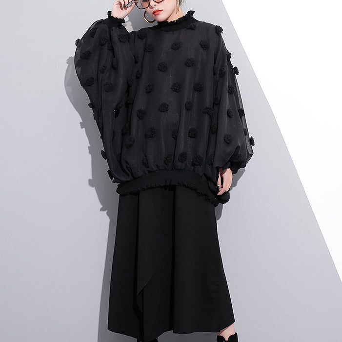 boutique black pure cotton blouse plus size traveling clothing Elegant fuzzy ball decorated cotton blouses