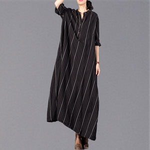 boutique black striped 2018 Loose fitting stand collar clothing dresses top quality baggy pockets maxi dresses