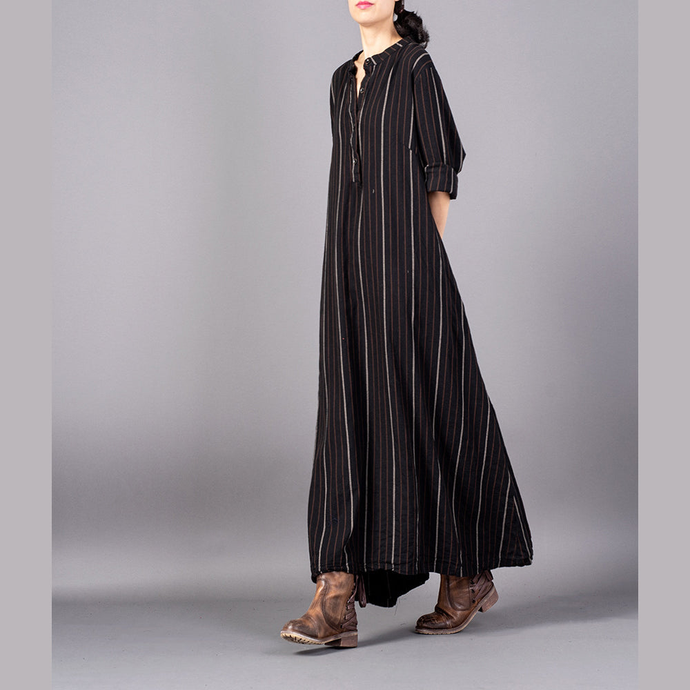 5e88a96ee4 boutique black striped 2018 Loose fitting stand collar clothing dresses top  quality baggy pockets maxi dresses ...