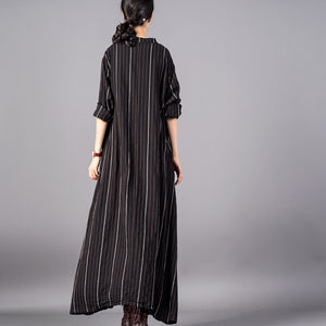 boutique black striped 2018 Loose fitting stand collar clothing dresses fine baggy pockets maxi dresses