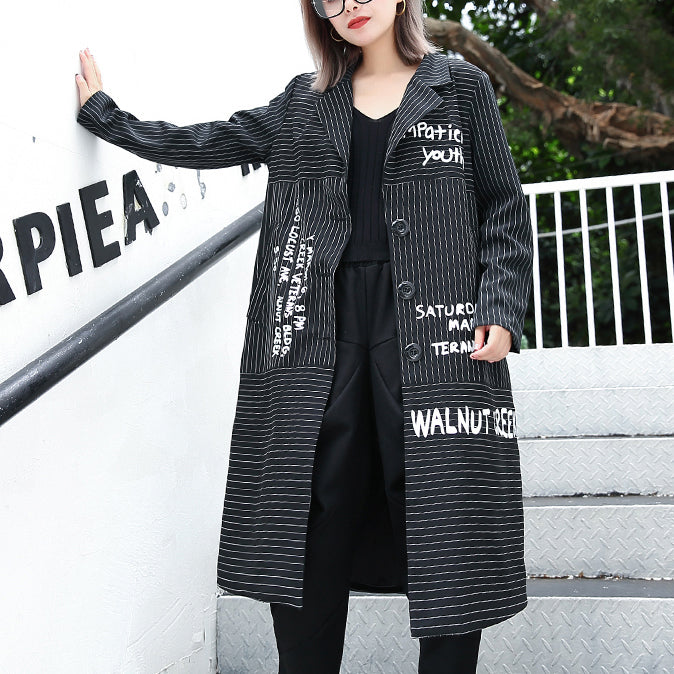 boutique black striped Coat plus size lapel print Coat Elegant baggy coats