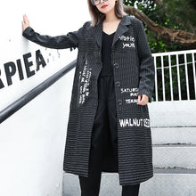 Load image into Gallery viewer, boutique black striped Coat plus size lapel print Coat Elegant baggy coats