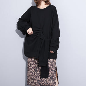 boutique black t shirt plus size clothing O neck wrinkled t shirts New tie waist asymmetrical natural pullover
