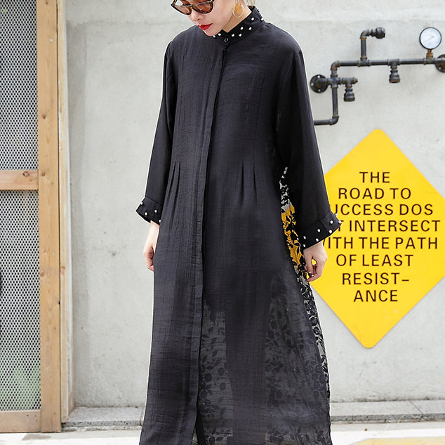 boutique black tulle cardigans plus size wild patchwork traveling dress 2018 long sleeve maxi dresses