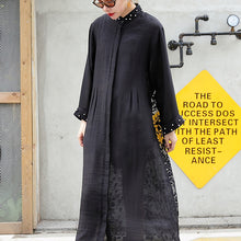 Afbeelding in Gallery-weergave laden, boutique black tulle cardigans plus size wild patchwork traveling dress 2018 long sleeve maxi dresses