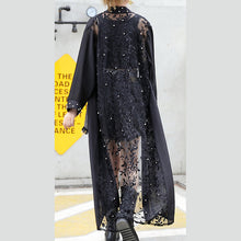 Load image into Gallery viewer, boutique black tulle cardigans plus size wild patchwork traveling dress 2018 long sleeve maxi dresses