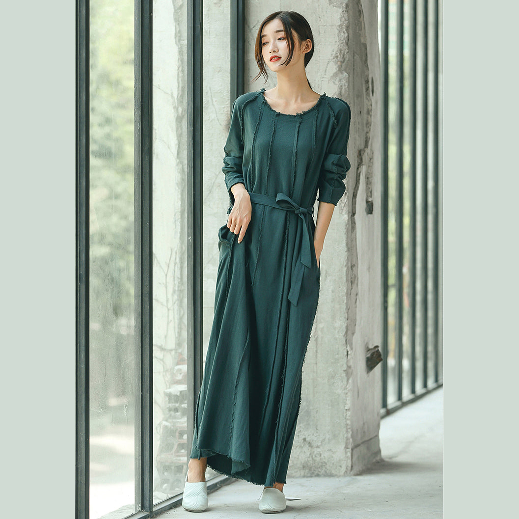 boutique blackish green plus size clothing O neck baggy dresses traveling clothing Elegant tie waist dresses
