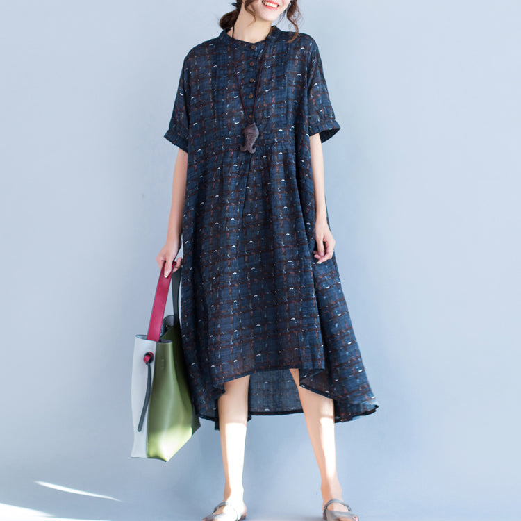 boutique blue Plaid natural cotton linen dress plus size Stand baggy dresses boutique short sleeve asymmetrical design dresses