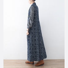 boutique blue cotton polyester coat trendy plus size prints outwear women sleeveless maxi coat