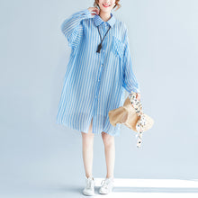 Load image into Gallery viewer, boutique blue cotton shift dress plus size cotton clothing dresses New lapel collar striped shirt dress