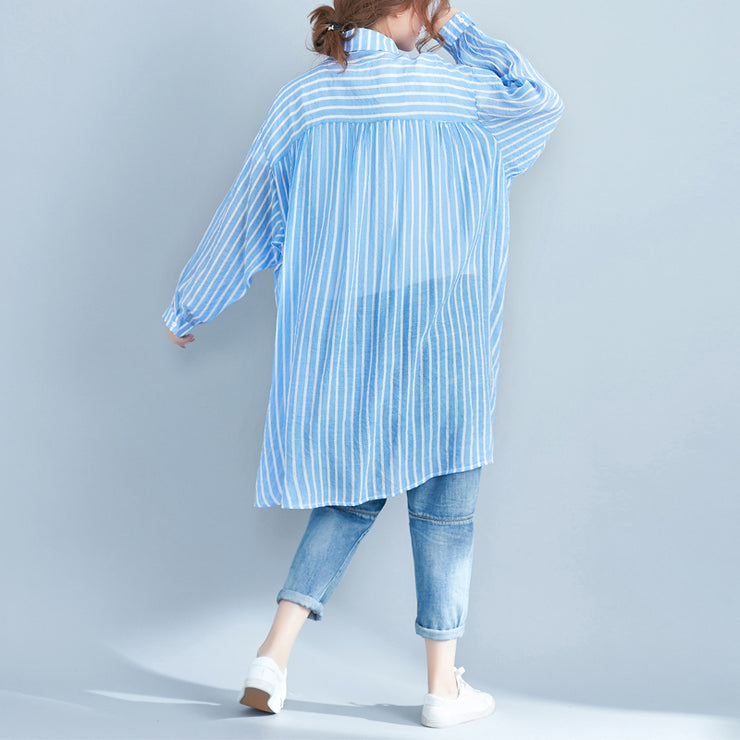 boutique blue cotton shift dress plus size cotton clothing dresses New lapel collar striped shirt dress