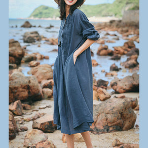 boutique blue gray linen caftans Loose fitting O neck linen clothing dress top quality Three Quarter sleeve large hem dresses