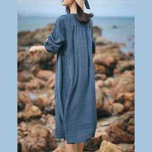 Load image into Gallery viewer, boutique blue gray linen caftans Loose fitting O neck linen clothing dress top quality Three Quarter sleeve large hem dresses
