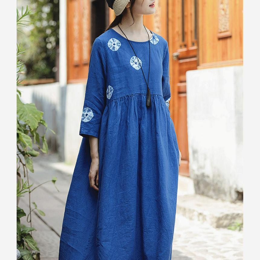 boutique blue print linen dresses oversize o neck linen clothing dresses vintage Three Quarter sleeve large hem linen dresses