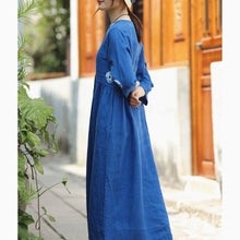 Load image into Gallery viewer, boutique blue print linen dresses oversize o neck linen clothing dresses vintage Three Quarter sleeve large hem linen dresses