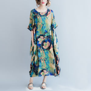 boutique blue prints long linen dresses Loose fitting o neck linen gown women short sleeve linen caftans