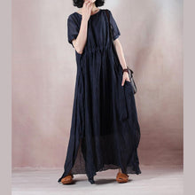 Load image into Gallery viewer, boutique blue silk linen dresses plus size o neck baggy dresses tie waist caftans vintage short sleeve a line skirts