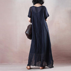 boutique blue silk linen dresses plus size o neck baggy dresses tie waist caftans vintage short sleeve a line skirts