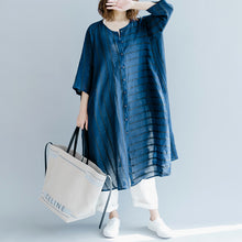 Load image into Gallery viewer, boutique blue striped linen maxi dress trendy plus size O neck baggy dresses gown Fine half sleeve side open maxi dresses