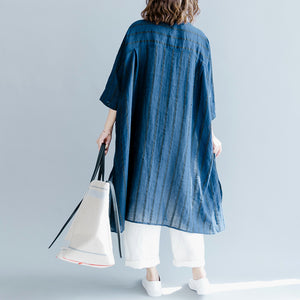 boutique blue striped linen maxi dress trendy plus size O neck baggy dresses gown Fine half sleeve side open maxi dresses