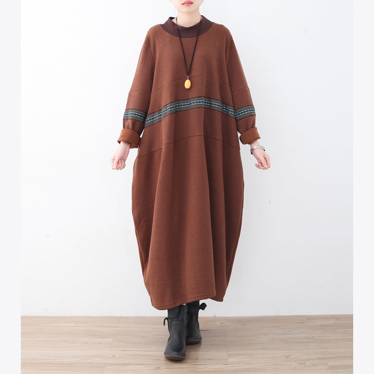 boutique brown sweater dress fall fashion patchwork pullover fine high neck winter dress