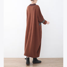 Load image into Gallery viewer, boutique brown sweater dress fall fashion patchwork pullover top quality high neck winter dress