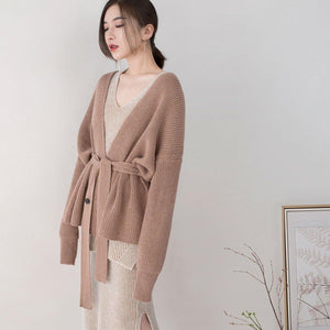 boutique brown winter sweater Loose fitting v neck knitted blouses Fine tie waist sweaters