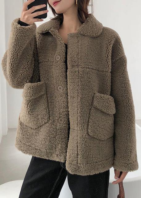 boutique brown wool overcoat plus size medium length jackets winter coats lapel collar