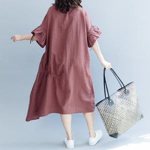 boutique burgundy cotton linen dress oversized O neck drawstring traveling clothing Fine Petal Sleeve baggy dresses