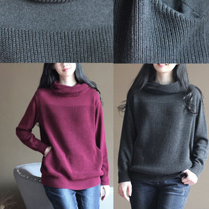 boutique burgundy winter sweater Loose fitting knitted tops Elegant thick blouse long sleeve