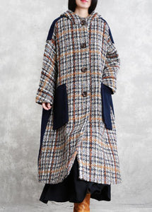 boutique casual long winter coat blue plaid patchwork hooded wool overcoat