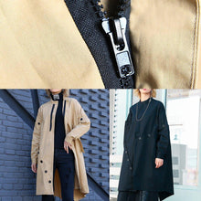 Load image into Gallery viewer, boutique casual medium length stand collar women coats black asymmetric coats