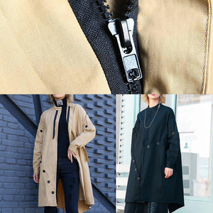 boutique casual medium length stand collar women coats black asymmetric coats