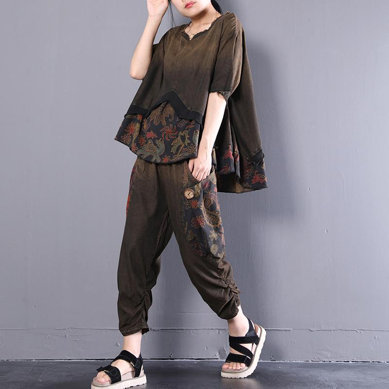 boutique cotton blouses oversize Retro Women Summer Casual Loose Floral Suits
