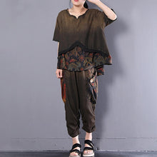 Load image into Gallery viewer, boutique cotton blouses oversize Retro Women Summer Casual Loose Floral Suits
