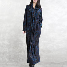 Load image into Gallery viewer, boutique dark blue print natural silk cotton blended dress Loose fitting v neck asymmetrical design traveling dress boutique long sleeve patchwork kaftans