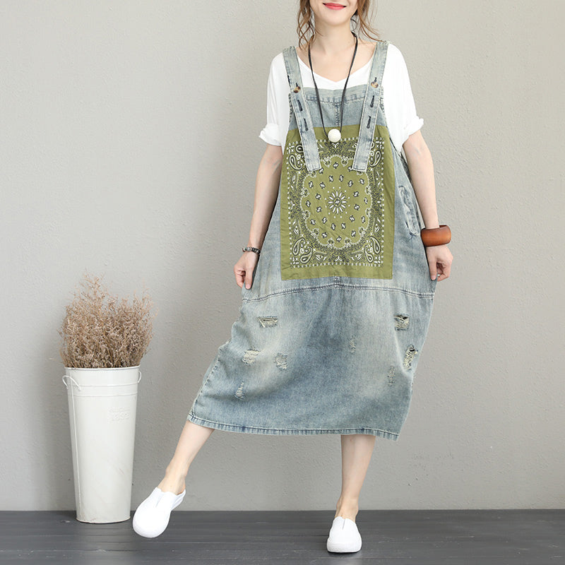 boutique denim light blue natural cotton dress oversize sleeveless gown vintage patchwork prints dresses