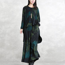 Load image into Gallery viewer, boutique floral cotton blended two pieces oversized maxi t shirts top quality long sleeve asymmetric o neck pockets tops cotton blended baggy trouse