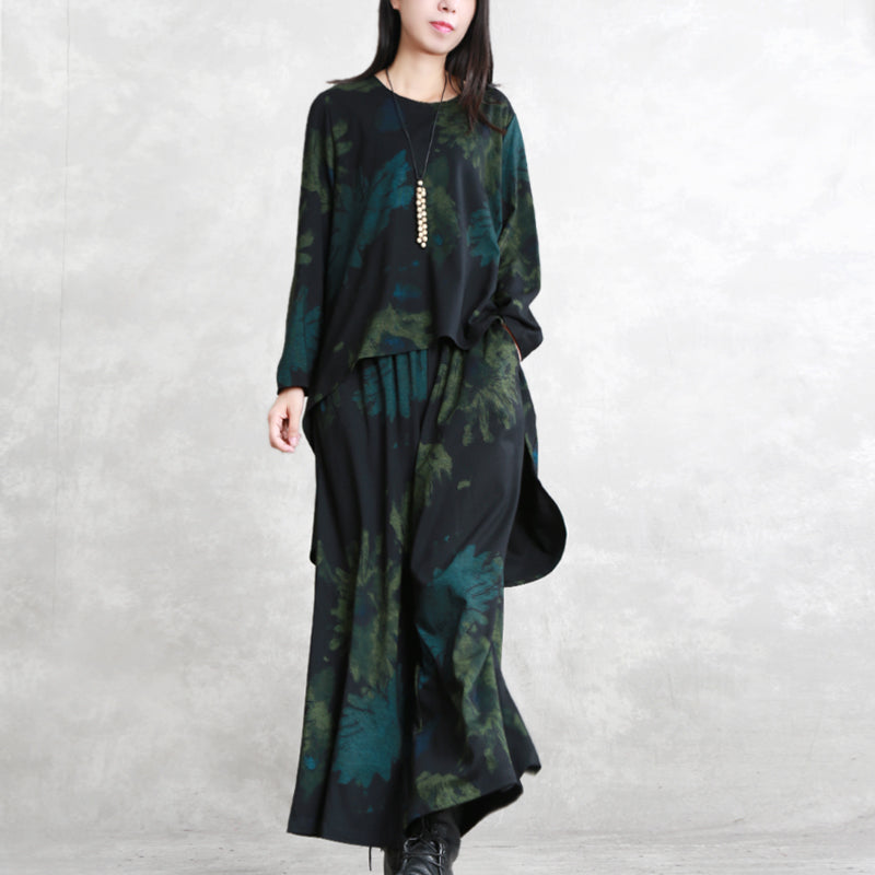 boutique floral cotton blended two pieces oversized maxi t shirts top quality long sleeve asymmetric o neck pockets tops cotton blended baggy trouse
