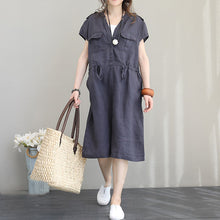 Load image into Gallery viewer, boutique gray blue Midi linen dresses oversize traveling dress vintage short sleeve v neck tie waist natural linen dress