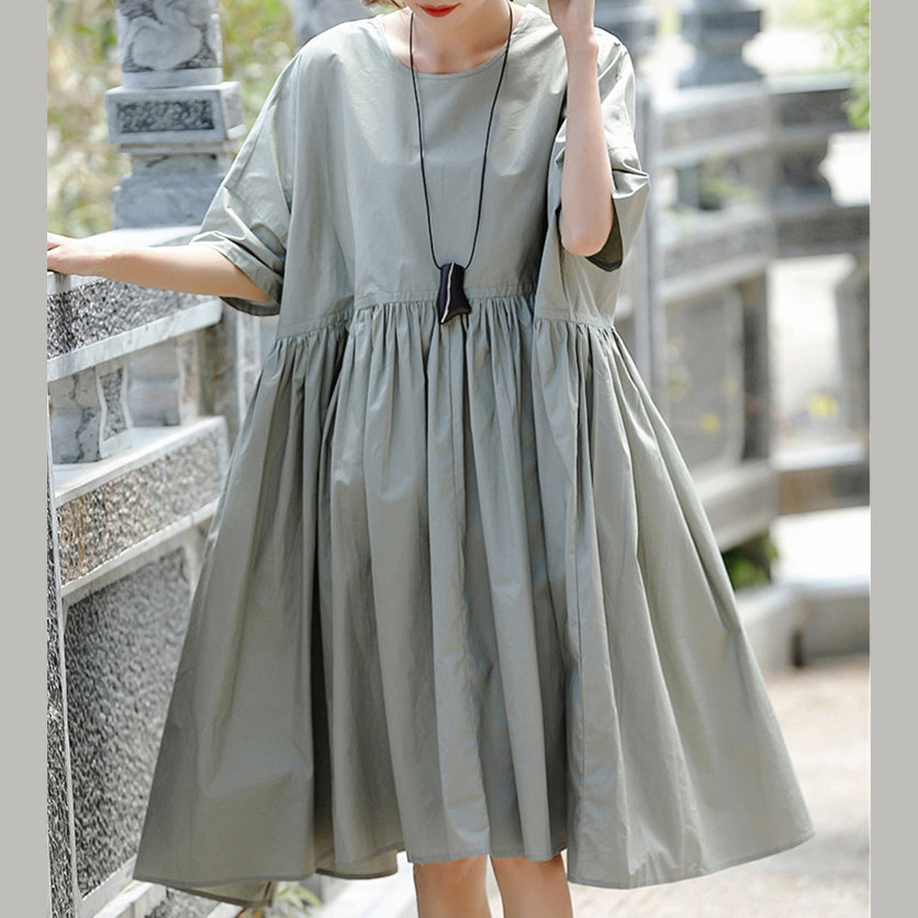 boutique gray cotton casual holiday dresses New short sleeve wrinkled O neck baggy dresses