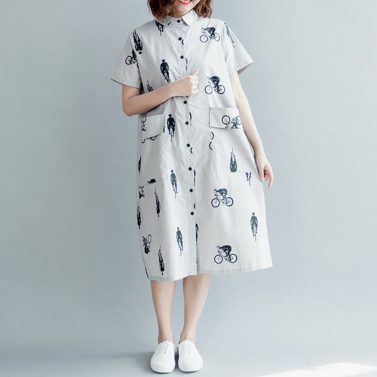 boutique gray print pure cotton dress plus size casual dress boutique short sleeve pockets Turn-down Collar hollow out midi dress