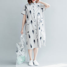 Load image into Gallery viewer, boutique gray print pure cotton dress plus size casual dress boutique short sleeve pockets Turn-down Collar hollow out midi dress