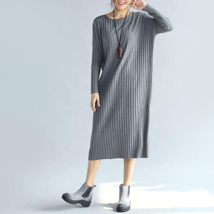 boutique gray sweater dresses oversized o neck winter dress long sleeve pullover sweater