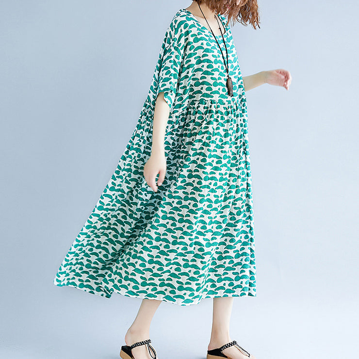 boutique green cotton linen dresses plus size clothing short sleeve baggy dresses boutique o neck linen cotton dress