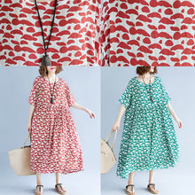 Load image into Gallery viewer, boutique green cotton linen dresses plus size clothing short sleeve baggy dresses boutique o neck linen cotton dress