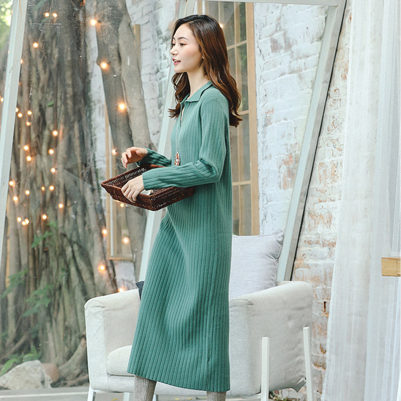 boutique green knit dresses plus size V neck long knit sweaters 2018 Square  Collar pockets winter dresses